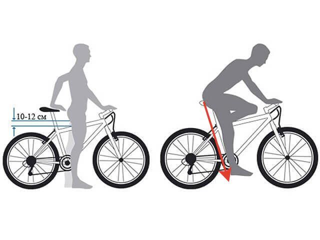 посадка на велосипед